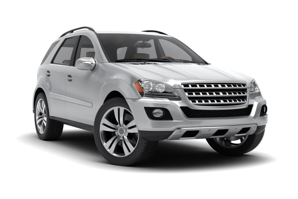 Silver SUV on a white background