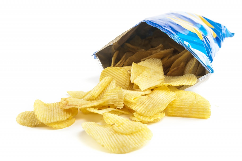 chips in foil packaging
