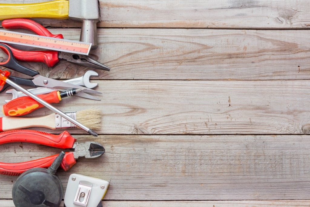 construction tools on a wooden floor
